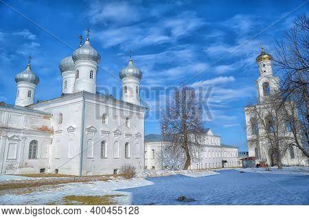 Russia, Veliky Novgorod 01,04,2012  Dome St. George's Monastery In Veliky Novgorod, Orthodox Christi