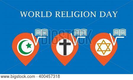 World Religion Day Concept. Symbols Of Three Abrahamic Or Semitic Religions:  Islamic, Christian, Je