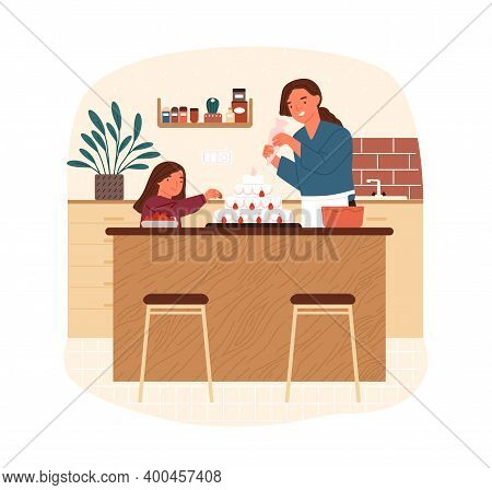 Happy Mother And Daughter Decorate Cake With Whipped Cream And Strawberry Vector Flat Illustration.