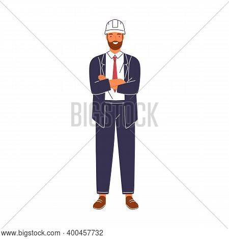 Smiling Construction Foreman In Suit And Hard Hat Vector Flat Illustration. Portrait Of Happy Male A