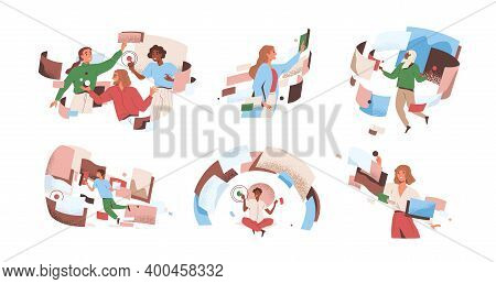 People Interacting To Workflow Operations At Cyber Space Vector Flat Illustration. Man And Woman In