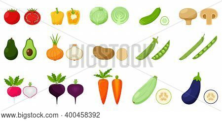 Set Of Vegetables. Pairs Of Whole And Half Vegetables In A Cross Section. Peas, Beans, Avocado, Root