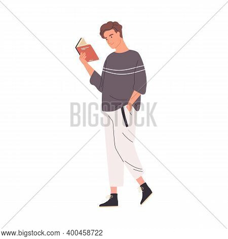 Young Man Reading Book While Walking Or Strolling. Cute Male Reader Or Student Enjoying Literature O