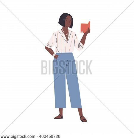 Happy Modern Young African Woman Reading Book Standing Isolated On White Background. Smiling Female
