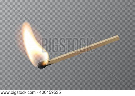 Lit Match Stick Burning With Fire Flame. Wooden Match, Hot And Glowing Red Isolated On Transparent B