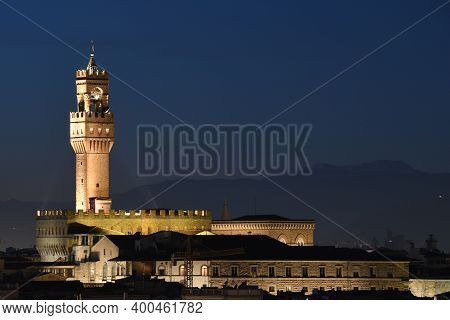 Palazzo Vecchio At Evening Seen From Piazzale Michelangelo. The Palazzo Vecchio Is The Town Hall Of