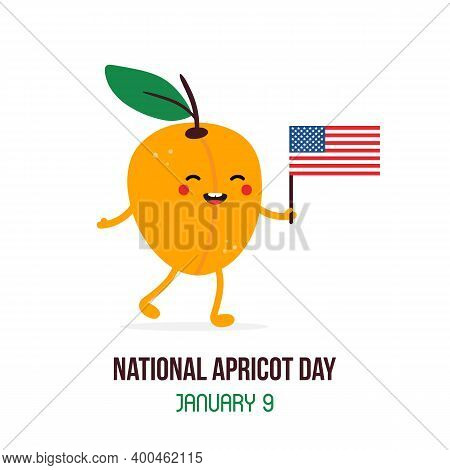 National Apricot Day Vector Card, Illustration With Cute Cartoon Style Apricot Character With Usa Fl