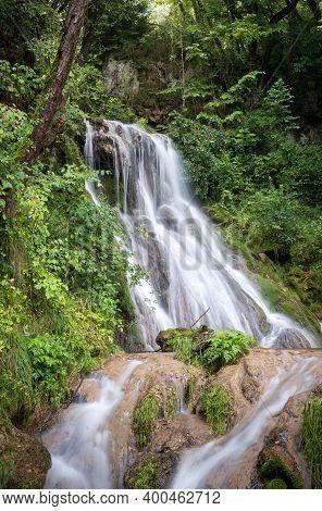 Waterfall In Nature. Gostilje Waterfall In Serbia. Mountain River Waterfall. Nature. Waterfall. Natu