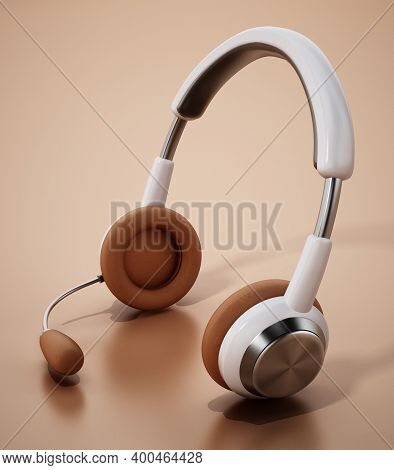 Generic Headset Isolated On White Background. 3d Illustration.