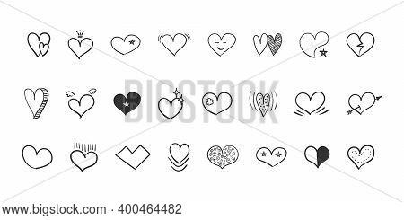 Heart Icons Set. Doodle Hearts. Hand Drawn Icon Hearts Isolated On White Background. Trendy Design.
