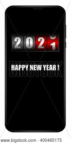 Happy New Year 2021 On Mobile Phone Screen With Counter Vector Greeting Card