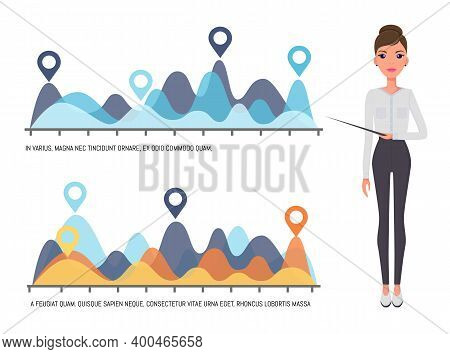Young Beautiful Slender Businesswoman Points To A Color Wavy Graph. Woman In A White Blouse, Black T