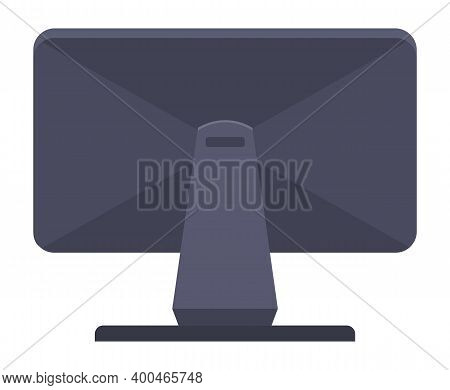 Vector Illustration Black Monitor Lcd Display Back View. Monitor Without Wires Isolated On White Bac