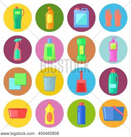Set Of Bottles Of Household Chemicals, Supplies And Cleaning, Tools And Containers For Cleaning. Ico