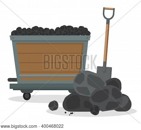 Mine Cart With Coal And A Pile Of Black Stones And A Shovel Isolated On White Background. Vector Equ