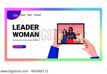 Businessperson Hands Using Tablet Pc Discussing With Mix Race Businesswomen Leaders During Video Cal