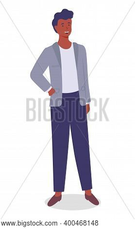 Smiling Man Young Businessman Dressed In A Jacket Standing At Full Height Vector Illustration Isolat