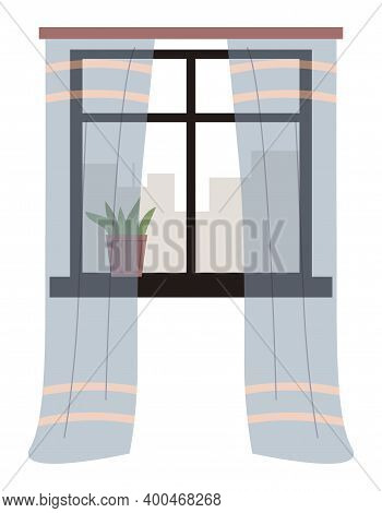 Illustration Of Living Room Window With Transparent Curtains And Potted Plant On The Windowsill Vect