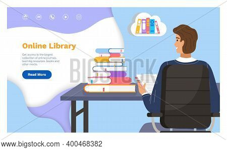 Online Library Landing Page Template With A Man Student Sitting At A Table With Stack Of Books Back