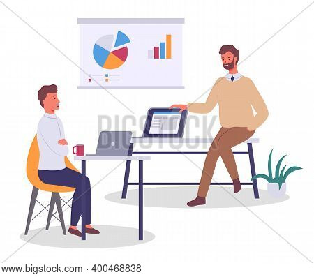 Office Workers Characters Discussing Matters, Statistics Chart. Businessman And Colleague Sitting At