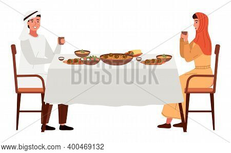 Dining Room In Arabic Style Vector Illustration. Dining Table With Falafel And Hummus. Arrangement O