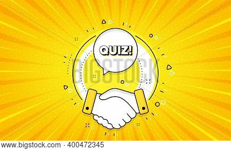 Quiz Symbol. Yellow Vector Button With Handshake. Answer Question Sign. Examination Test. Quiz Line