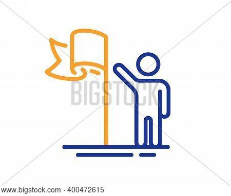 Leadership Line Icon. Success Flag Sign. Winner Symbol. Quality Design Element. Line Style Leadershi