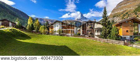 Zermatt, Switzerland Alpine Houses Panorama And Matterhorn Snow Mountain Peak, Swiss Alps