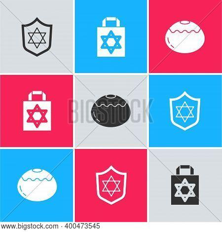 Set Shield With Star Of David, Shopping Bag Star David And Jewish Sweet Bakery Icon. Vector