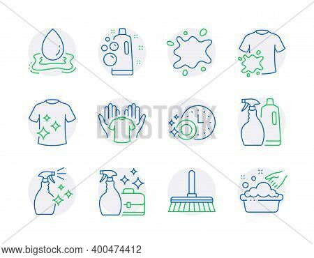 Cleaning Icons Set. Included Icon As Cleaning Mop, Cleanser Spray, Shampoo And Spray Signs. Dirty T-