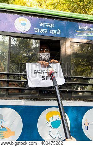 New Delhi, India - December 2020 Delhi Police Detained A Protestor From Jantar Mantar,farmers Are Pr
