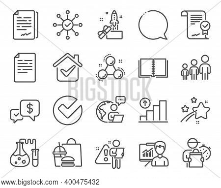 Education Icons Set. Included Icon As Verify, Graph Chart, Document Signature Signs. Business Hierar