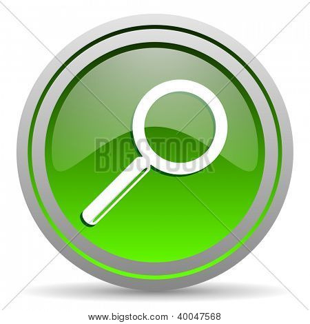 search green glossy icon on white background