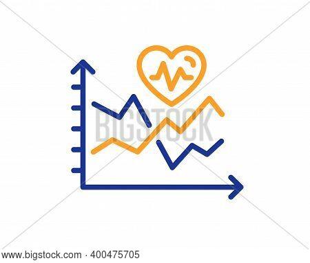 Cardio Training Chart Line Icon. Fat Burning Statistics Sign. Gym Fit Heartbeat Symbol. Quality Desi