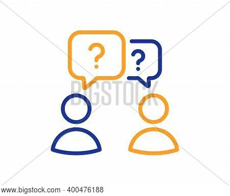 Teamwork Questions Line Icon. Ask Help Sign. Support Problem Symbol. Quality Design Element. Line St