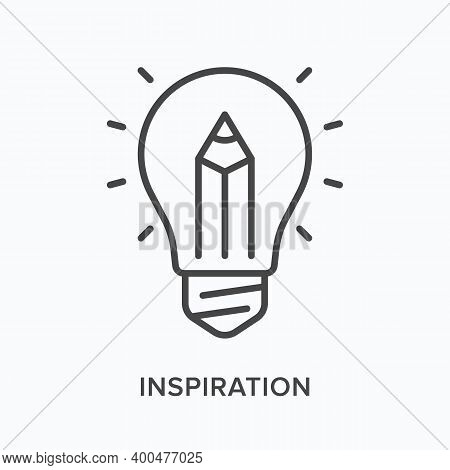 Inspiration Flat Line Icon. Vector Outline Illustration Of Screen With Lightbulb And Pen. Infographi