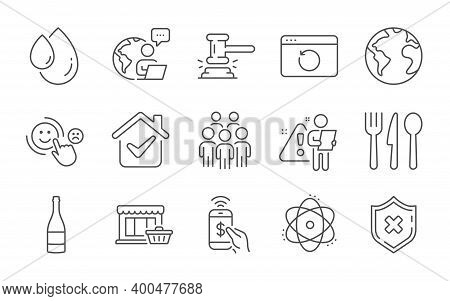 Marketplace, Customer Satisfaction And Group People Line Icons Set. World Planet, Atom And Reject Pr