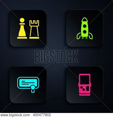 Set Tetris, Chess, Certificate Template And Rocket Ship. Black Square Button. Vector