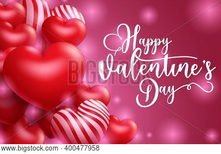 Valentine's Vector Banner Template Design. Happy Valentine's Day Typography Text In Empty Space For