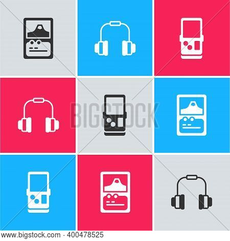 Set Card Game, Headphones And Tetris Icon. Vector