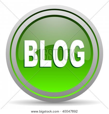 blog green glossy icon on white background