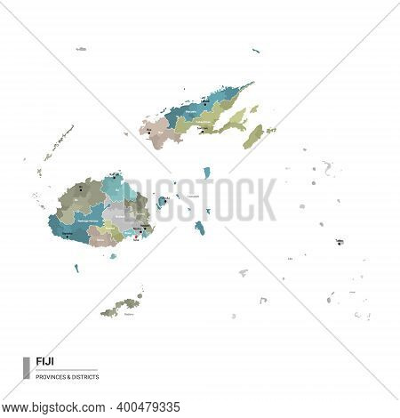 Fiji Higt Detailed Map With Subdivisions. Administrative Map Of Fiji With Districts And Cities Name,