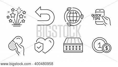 Life Insurance, Capsule Pill And Education Line Icons Set. Flexible Mattress, Usd Coins And Eco Ener