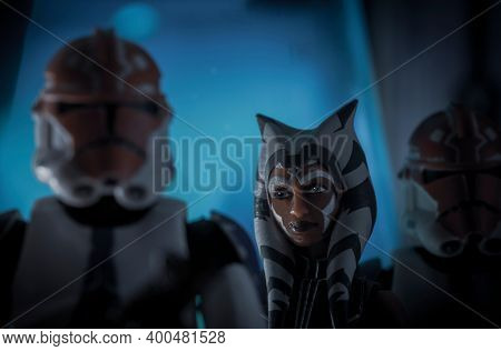 DEC 20 2020: Star Wars Jedi Ahsoka Tano and Clone Troopers of the 322nd Company during the siege of Mandalore - Hasbro Action Figure