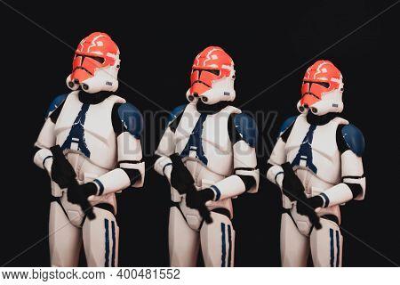 NEW YORK USA, DEC 20 2020: row of Star Wars The Clone Wars 332nd Company Clone Trooper - Hasbro Action Figure