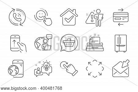Typewriter, Open Mail And Refrigerator Line Icons Set. Mobile Internet, Shopping Cart And Credit Car