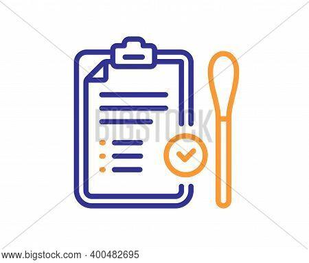 Nasal Swab Test Passed Line Icon. Report With Cotton Swab Sign. Coronavirus Testing Symbol. Quality