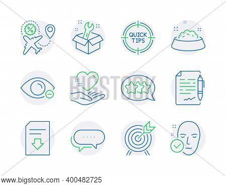 Business Icons Set. Included Icon As Download File, Tips, Hold Heart Signs. Stars, Dog Feeding, Myop