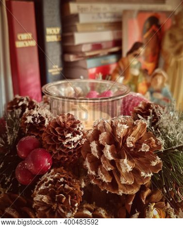 Christmas Tree With Books, Holy Bible, Pine Cone, Christmas Decorations, Candle, Nativity Scene On B
