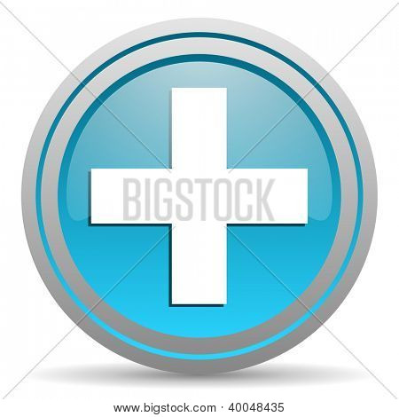 emergency blue glossy icon on white background
